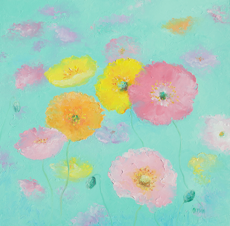 (CreativeWork) Mixed Poppies by Jan Matson. oil-painting. Shop online at Bluethumb.
