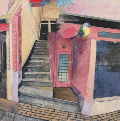 (CreativeWork) Kinkerstraat by Marco Corsini. oil-painting. Shop online at Bluethumb.