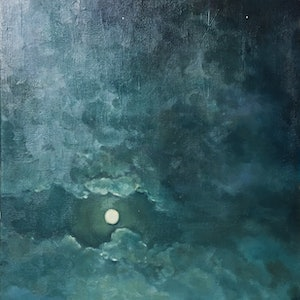 (CreativeWork) Mysterious Moon by Donna Christie. oil-painting. Shop online at Bluethumb.