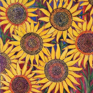 (CreativeWork) Golden Sunflowers (1 of 2) by Corinne Young. oil-painting. Shop online at Bluethumb.