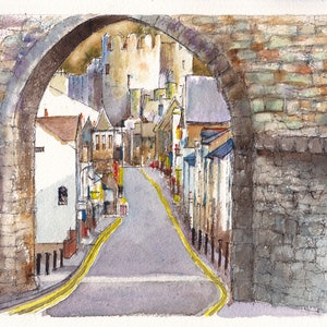 (CreativeWork) Castle Street, Conwy, North Wales by Dai Wynn. watercolour. Shop online at Bluethumb.