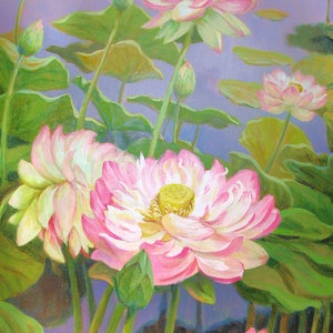 (CreativeWork) Lotus blooms at the garden by Valentin Varetsa. oil-painting. Shop online at Bluethumb.