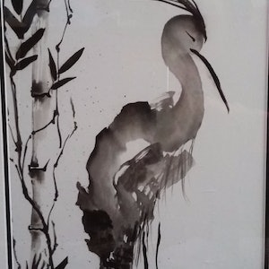 (CreativeWork) The Great Heron by Sophia Papp. other-media. Shop online at Bluethumb.