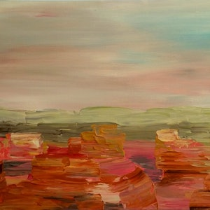 (CreativeWork) Pink Canyons (from the rim)   by Nicole Hunt. arcylic-painting. Shop online at Bluethumb.