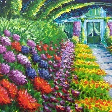 (CreativeWork) Impressionistic Flower Garden by Violetta Strabic. Acrylic Paint. Shop online at Bluethumb.