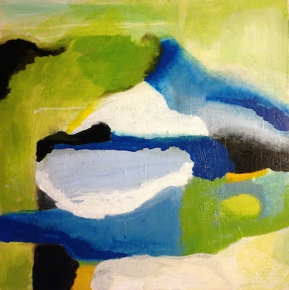 (CreativeWork) Abstract in blue and green by Daryl Clifford. Acrylic Paint. Shop online at Bluethumb.