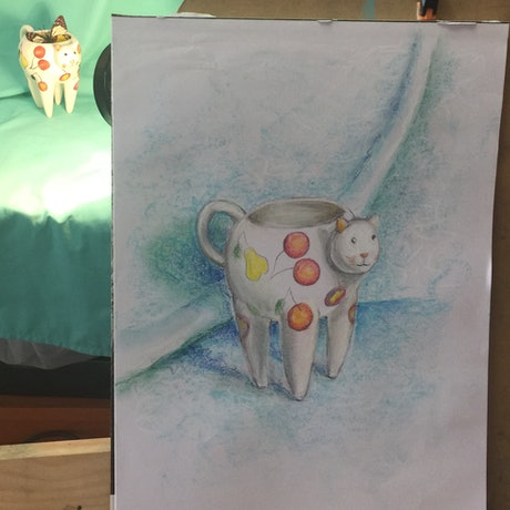 (CreativeWork) Cat cup by Violetta Strabic. Drawings. Shop online at Bluethumb.
