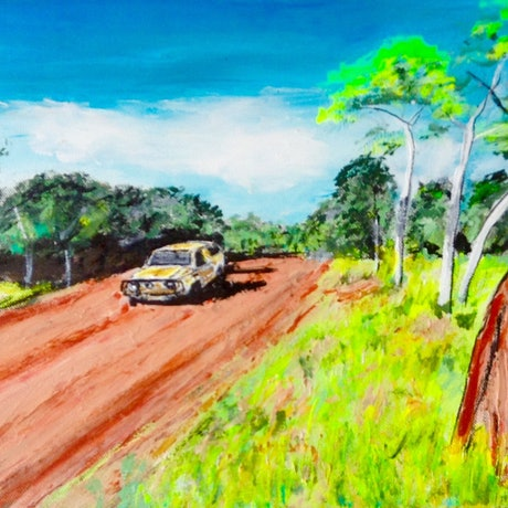 (CreativeWork) On the Road Again  by Gillian Fahey. Acrylic Paint. Shop online at Bluethumb.