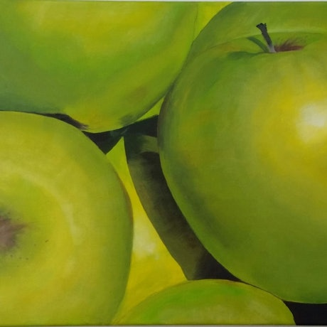 (CreativeWork) Apples by Lucia Pilotto. Acrylic Paint. Shop online at Bluethumb.