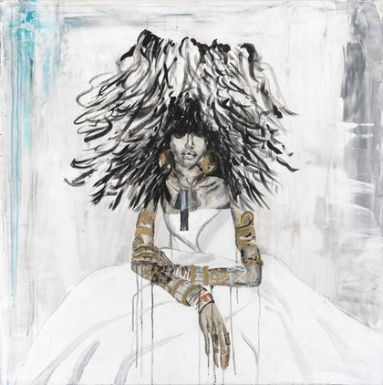 (CreativeWork) Ajak  and her big hair by Ilona Barac. mixed-media. Shop online at Bluethumb.