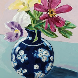 (CreativeWork) One purple pansy by Kate Quinn. oil-painting. Shop online at Bluethumb.