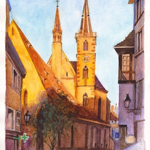 (CreativeWork) Eglise St Pierre-le-Vieux, Strasbourg, France by Dai Wynn. watercolour. Shop online at Bluethumb.