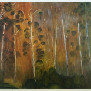 (CreativeWork) Eucalyptus Forest 7-2013 by Robert Silverton. oil-painting. Shop online at Bluethumb.