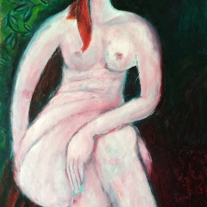 (CreativeWork) Pink nude by Olga Bakhtina. Oil Paint. Shop online at Bluethumb.