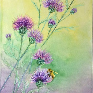(CreativeWork) Bee&wild purple thistle  by Jing Tian. mixed-media. Shop online at Bluethumb.