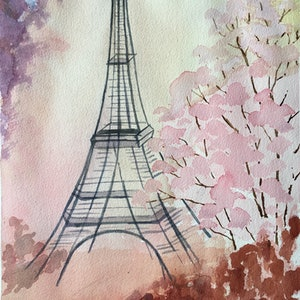 (CreativeWork) Bonjour by Yelena G. watercolour. Shop online at Bluethumb.