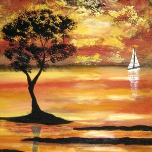 (CreativeWork) Sail in the Sunset by Susie Mac. acrylic-painting. Shop online at Bluethumb.