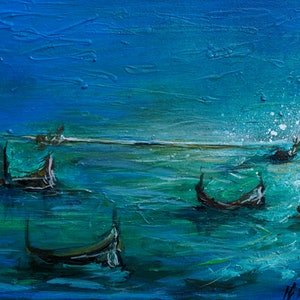 (CreativeWork) Aqua Waters by Hayley June Walker. oil-painting. Shop online at Bluethumb.
