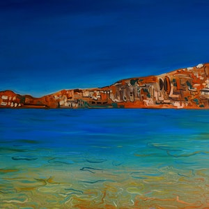 (CreativeWork) Greece by Hayley June Walker. oil-painting. Shop online at Bluethumb.