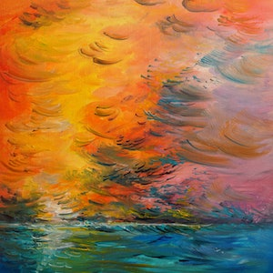 (CreativeWork) Oblongata Sunrise by Hayley June Walker. oil-painting. Shop online at Bluethumb.