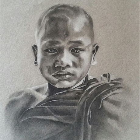 (CreativeWork) The Young Monk by Sharyn Talbot. Drawings. Shop online at Bluethumb.