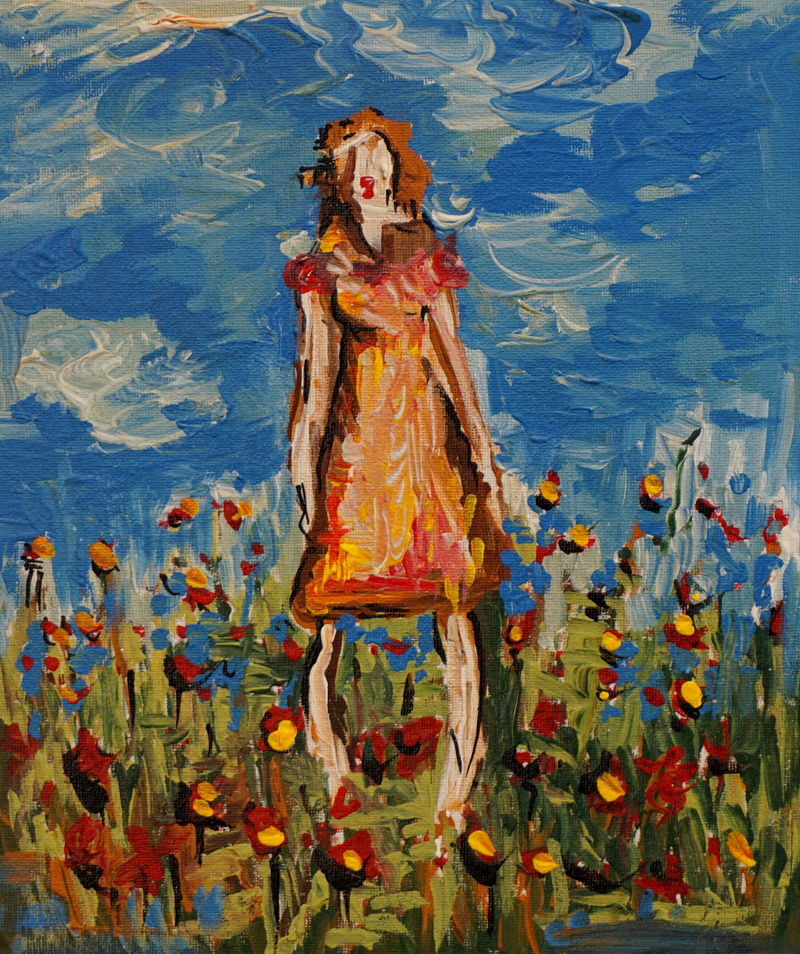 (CreativeWork) Girl In A Field by Hayley June Walker. arcylic-painting. Shop online at Bluethumb.