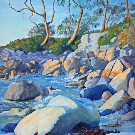 (CreativeWork) Evening Glow - Bay of Fires Tas by Pauline Johnson. Oil Paint. Shop online at Bluethumb.
