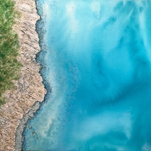 (CreativeWork) Drifting Over Dunsborough by Jackie Peach. mixed-media. Shop online at Bluethumb.