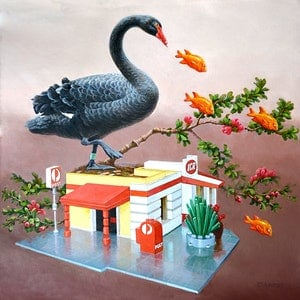 (CreativeWork) Black Swan and Post office by Valentin Varetsa. oil-painting. Shop online at Bluethumb.