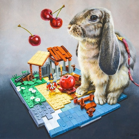 (CreativeWork) The Hare and LEGO by Valentin Varetsa. Oil Paint. Shop online at Bluethumb.