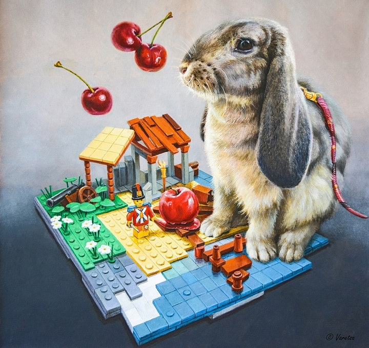 (CreativeWork) The Hare and LEGO by Valentin Varetsa. oil-painting. Shop online at Bluethumb.
