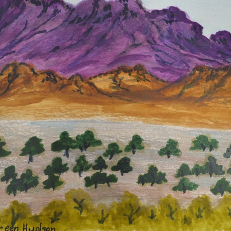 (CreativeWork) Haasts Bluff, NT, 239-15 by Noreen Hudson. Watercolour Paint. Shop online at Bluethumb.