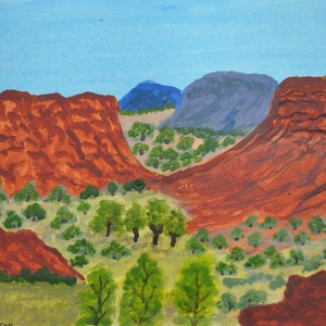 (CreativeWork) Heavitree Gap, NT, 241-15 by Noreen Hudson. watercolour. Shop online at Bluethumb.
