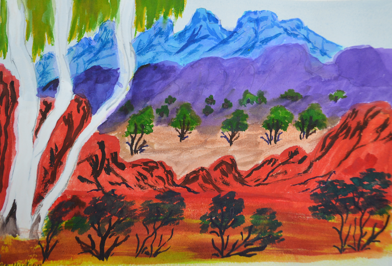 (CreativeWork) Range scene, 273-15 by Noreen Hudson. watercolour. Shop online at Bluethumb.