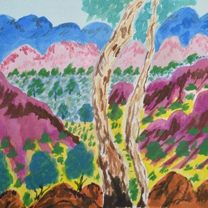 (CreativeWork) Tjuritja (West MacDonnell Ranges, NT), 287-15 by Noreen Hudson. watercolour. Shop online at Bluethumb.