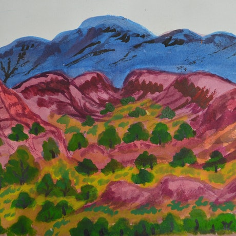 (CreativeWork) The front of Glen Helen Station, 289-15 by Noreen Hudson. Watercolour Paint. Shop online at Bluethumb.