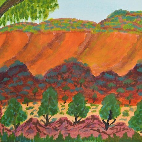 (CreativeWork) Tjuritja (West MacDonnell Ranges, NT),  290-15 by Noreen Hudson. Watercolour Paint. Shop online at Bluethumb.