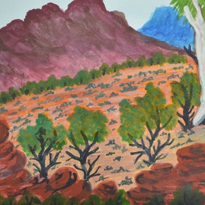 (CreativeWork) Tjuritja (West MacDonnell Ranges, NT), 313-15 by Noreen Hudson. watercolour. Shop online at Bluethumb.