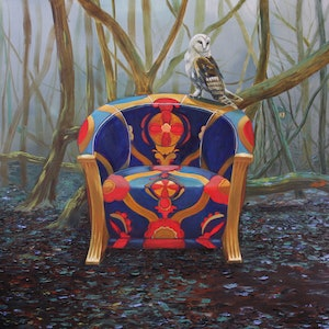 (CreativeWork) Winter Chair by Llael McDonald. oil-painting. Shop online at Bluethumb.