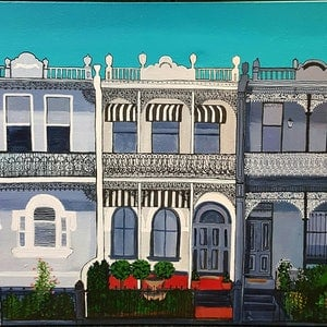 """(CreativeWork) """"Which House Are You?"""" by Helen Pynta. acrylic-painting. Shop online at Bluethumb."""