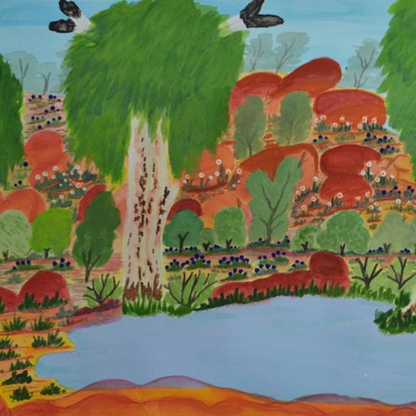 (CreativeWork)  Springs Wiggly's waterhole, North of Alice, 333-15 by Clara Inkamala. Watercolour Paint. Shop online at Bluethumb.