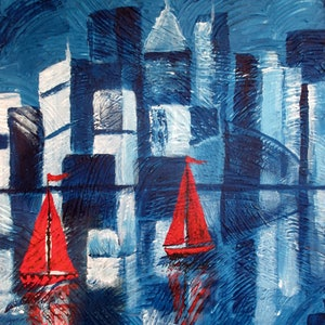 (CreativeWork) Red Sails by Susie Mac. acrylic-painting. Shop online at Bluethumb.