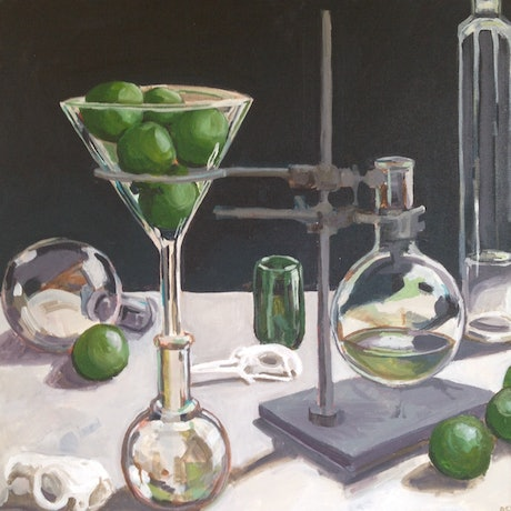 (CreativeWork) Evening Cocktails by Anne Fontaine. Acrylic Paint. Shop online at Bluethumb.