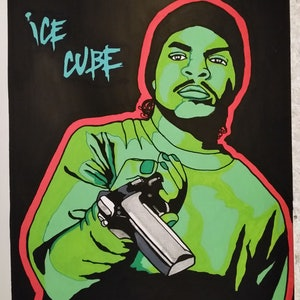 (CreativeWork) Ice Cube back in day by Kid Crush. arcylic-painting. Shop online at Bluethumb.