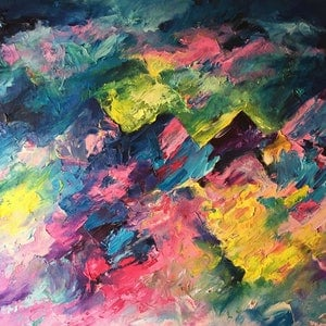 (CreativeWork) Stormy Three Peaks by Tracey-Ann Morris. oil-painting. Shop online at Bluethumb.