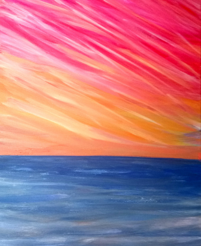 (CreativeWork) Melbourne Holiday Sunset 2  by Isabelle Caille. arcylic-painting. Shop online at Bluethumb.