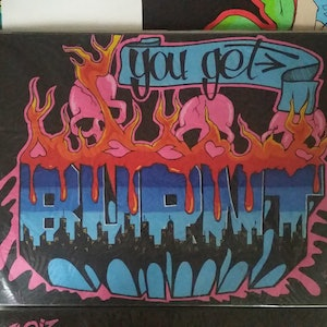 (CreativeWork) You Get Burnt by Kid Crush. arcylic-painting. Shop online at Bluethumb.