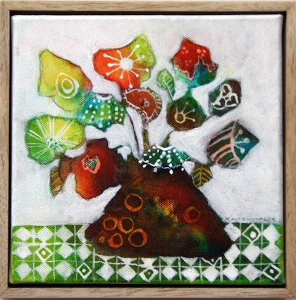 (CreativeWork) Happy Little Bunch by Pam Altschwager. mixed-media. Shop online at Bluethumb.