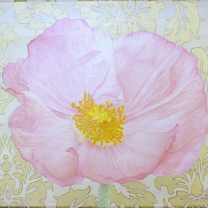 (CreativeWork) Pink Poppy by Jessica Fittock. mixed-media. Shop online at Bluethumb.