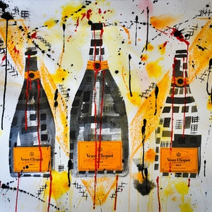 (CreativeWork) Veuve Clicquot Trio II by Leith Kennedy. mixed-media. Shop online at Bluethumb.